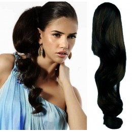 "Clip in human hair ponytail wrap hair extension 24"" wavy - black"