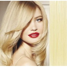 Clip in vlasy 53cm 100% ľudské - REMY 100g - NAJSVETLEJŠIA BLOND
