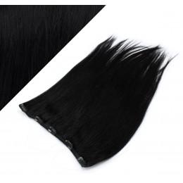 Clip in REMY vlasový pás 43cm rovný - čierna