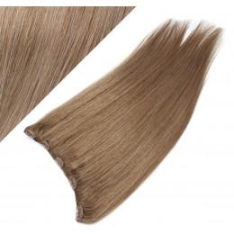Clip in REMY vlasový pás 43cm rovný - svetlo hnedá