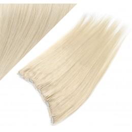 Clip in REMY vlasový pás 43cm rovný - platina