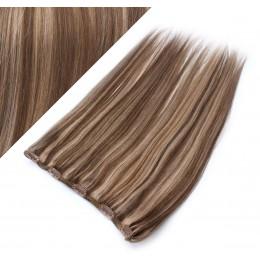 Clip in REMY vlasový pás 43cm rovný - tmavý melír