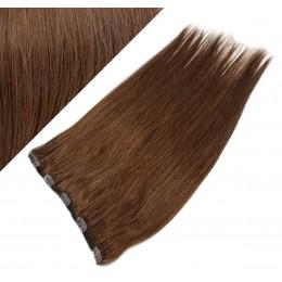 Clip in REMY vlasový pás 53cm rovný - stredne hnedá