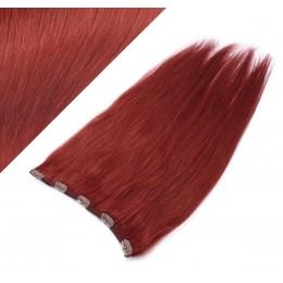 Clip in REMY vlasový pás 53cm rovný - medena