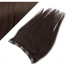 Clip in REMY vlasový pás 63cm rovný - tmavo hnedá