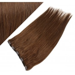 Clip in REMY vlasový pás 63cm rovný - stredne hnedá