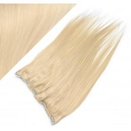 Clip in REMY vlasový pás 63cm rovný - najsvetlejšia blond