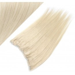 Clip in REMY vlasový pás 63cm rovný - platina