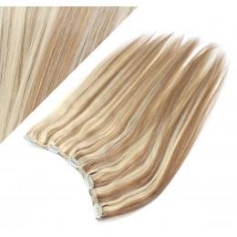 Clip in REMY vlasový pás 63cm rovný - svetlý melír