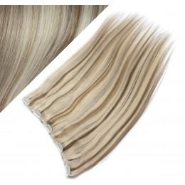 Clip in REMY vlasový pás 63cm rovný - platina / svetlo hnedá