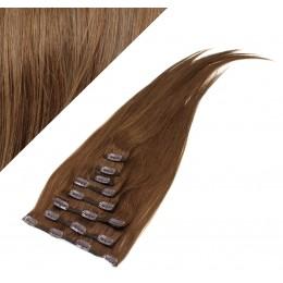 Clip in vlasy 63cm 100% ľudské - REMY 120g - STREDNE HNEDÁ