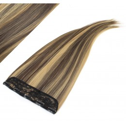 Clip in pás japonský kanekalon 63cm rovný - tmavý melír