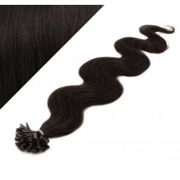 Vlasy európskeho typu na predĺženie keratínom 50cm vlnité - prírodné čierne