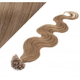 Vlasy európskeho typu na predĺženie keratínom 50cm vlnité - svetlo hnedé