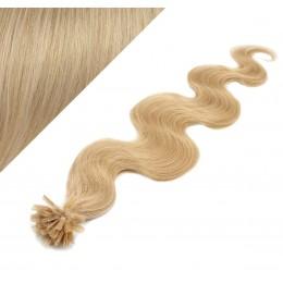 Vlasy európskeho typu na predĺženie keratínom 50cm vlnité - prírodná blond