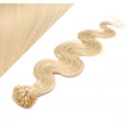 Vlasy európskeho typu na predĺženie keratínom 50cm vlnité - najsvetlejšia blond