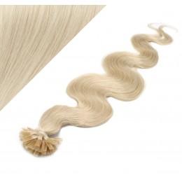 Vlasy európskeho typu na predĺženie keratínom 50cm vlnité - platina