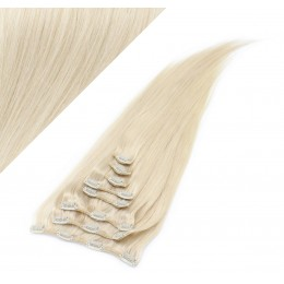 Clip in vlasy 63 cm 100% ľudské - REMY 120g - PLATINA