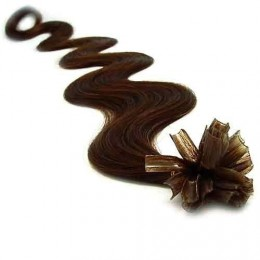 Vlasy európskeho typu na predĺženie keratínom 60cm vlnité - tmavě hnědé