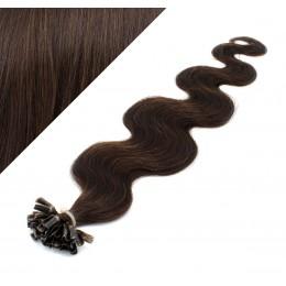 Vlasy európskeho typu na predĺženie keratínom 60cm vlnité - tmavo hnedé