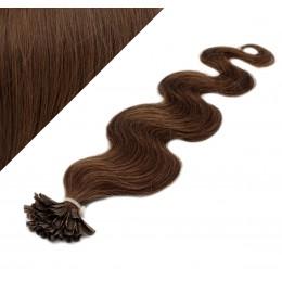 Vlasy európskeho typu na predĺženie keratínom 60cm vlnité - stredne hnedé