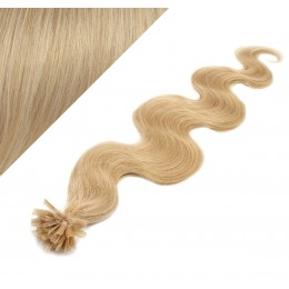 Vlasy európskeho typu na predĺženie keratínom 60cm vlnité - prírodná blond