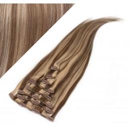 Clip in vlasy 63cm 100% ľudské - REMY 120g - TMAVÝ MELÍR