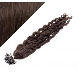 Vlasy európskeho typu na predĺženie keratínom 50cm kučeravé - tmavo hnedé