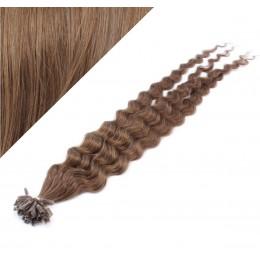 Vlasy európskeho typu na predĺženie keratínom 50cm kučeravé - svetlejšie hnedé