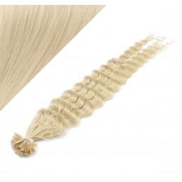 Vlasy európskeho typu na predĺženie keratínom 50cm kučeravé - platina