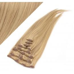 Clip in vlasy 63cm 100% ľudské - REMY 120g - PRÍRODNÁ/SVETLEJŠIA BLOND