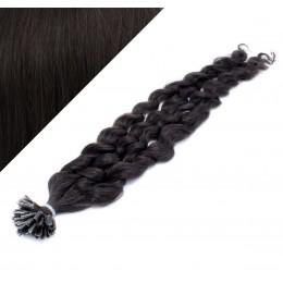 Vlasy európskeho typu na predĺženie keratínom 60cm kučeravé - prírodné čierne