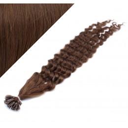 Vlasy európskeho typu na predĺženie keratínom 60cm kučeravé - stredne hnedé