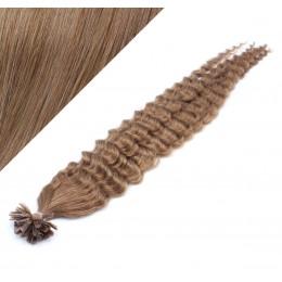 Vlasy európskeho typu na predĺženie keratínom 60cm kučeravé - svetlo hnedé