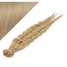 Vlasy európskeho typu na predĺženie keratínom 60cm kučeravé - prírodná blond