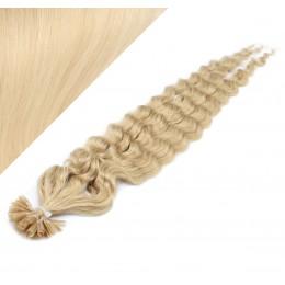 Vlasy európskeho typu na predĺženie keratínom 60cm kučeravé - najsvetlejšia blond