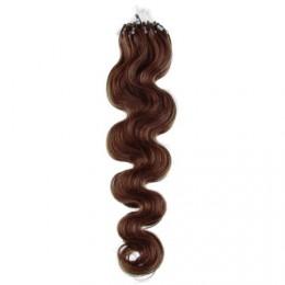 Vlasy pre metódu Micro Ring / Easy Loop / Easy Ring 50cm vlnité - stredne hnedé