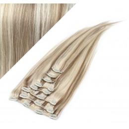 Clip in vlasy 63cm 100% ľudské - REMY 120g - PLATINA/SVETLO HNEDÁ