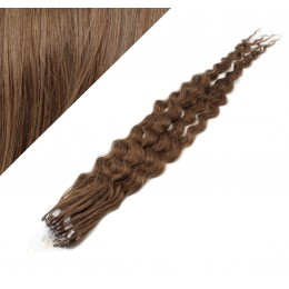 Vlasy pre metódu Micro Ring / Easy Loop / Easy Ring 50cm kučeravé - svetlejšie hnedé