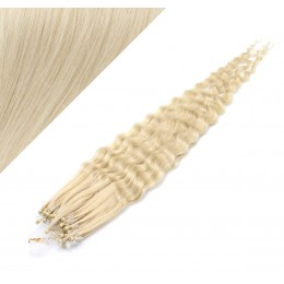 Vlasy pre metódu Micro Ring / Easy Loop / Easy Ring 50cm kučeravé - platina