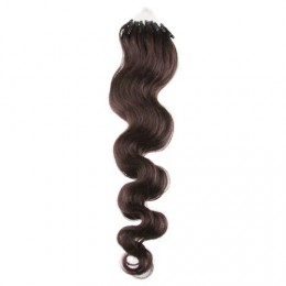 Vlasy pre metódu Micro Ring / Easy Loop / Easy Ring 60cm vlnité - tmavo hnedé