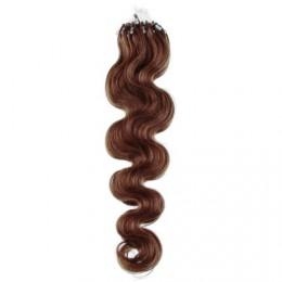 Vlasy pre metódu Micro Ring / Easy Loop / Easy Ring 60cm vlnité - svetlejšie hnedé