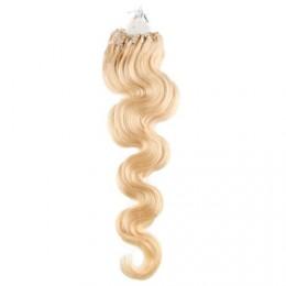 Vlasy pre metódu Micro Ring / Easy Loop / Easy Ring 60cm vlnité - najsvetlejšia blond