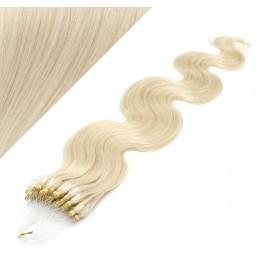 Vlasy pre metódu Micro Ring / Easy Loop / Easy Ring 60cm vlnité - platina
