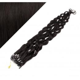 Vlasy pre metódu Micro Ring / Easy Loop / Easy Ring 60cm kučeravé - prírodné čierne