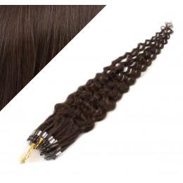 Vlasy pre metódu Micro Ring / Easy Loop / Easy Ring 60cm kučeravé - tmavo hnedé