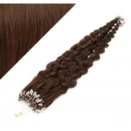 Vlasy pre metódu Micro Ring / Easy Loop / Easy Ring 60cm kučeravé - stredne hnedé
