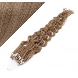 Vlasy pre metódu Micro Ring / Easy Loop / Easy Ring 60cm kučeravé - svetlo hnedé