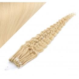 Vlasy pre metódu Micro Ring / Easy Loop / Easy Ring 60cm kučeravé - najsvetlejšia blond