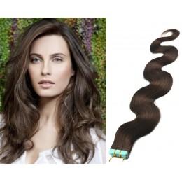 Vlasy pre metódu Tapex / Tape Hair / Tape IN 50cm vlnité - tmavo hnedé